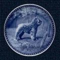 Danish Blue Porcelain Bouvier Plate - Bouvier at Fence
