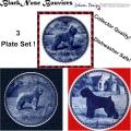 Danish Blue Porcelain Bouvier Plate Set - 3 Great Bouviers