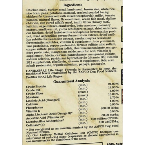 Canidae Life Stages Dog Food Ingredients